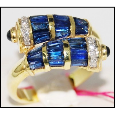 Gemstone Diamond Natural Blue Sapphire Ring 14K Yellow Gold [RR027]