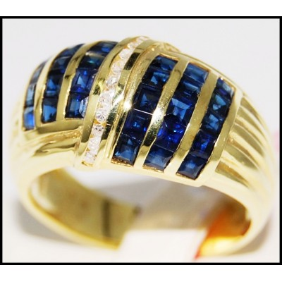 Gemstone Blue Sapphire Jewelry Diamond 14K Yellow Gold Ring [RR030]