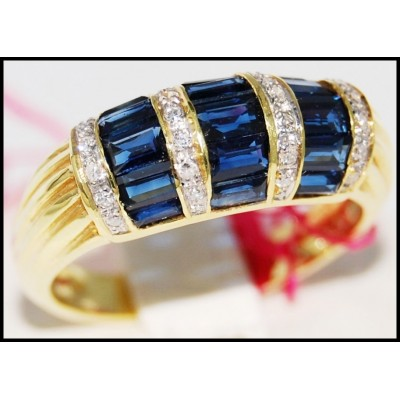 Natural Gemstone 14K Yellow Gold Diamond Blue Sapphire Ring [RR033]