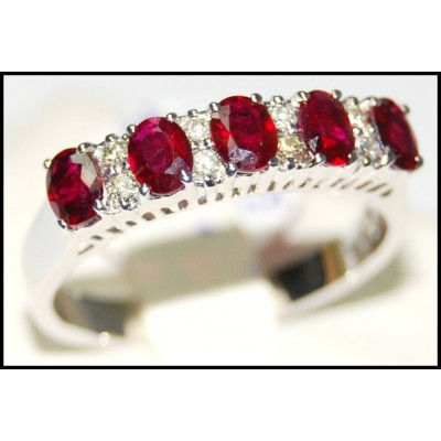 Five Genuine Oval Ruby and Diamond Ring 18K White Gold [RF0003]