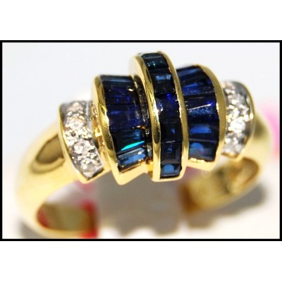 Jewelry Diamond Gemstone Blue Sapphire Ring 14K Yellow Gold [RR068]