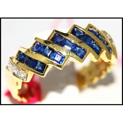 Eternity Diamond Blue Sapphire Gemstone Ring 14K Yellow Gold [RR070]