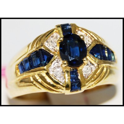 Blue Sapphire Wedding Gemstone Diamond Ring 14K Yellow Gold [RR076]