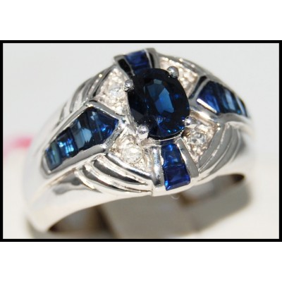 Gemstone 14K White Gold Genuine Diamond Blue Sapphire Ring [RR078]