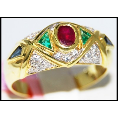 Genuine Diamond Multi Gemstone Ring 14K Yellow Gold [RR066]