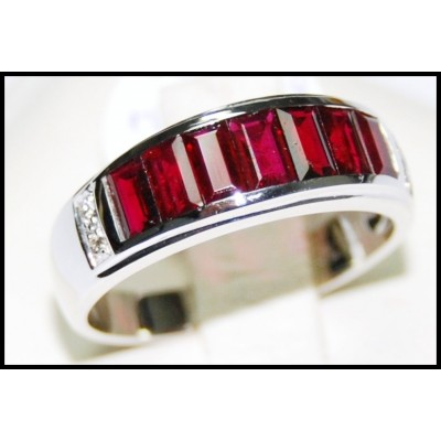 For Men Ruby and Diamond Unique 18K White Gold [RQ0002]