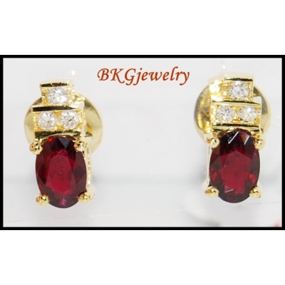 Jewelry Diamond Stud Ruby Gemstone Earrings 18K Yellow Gold [E0032]