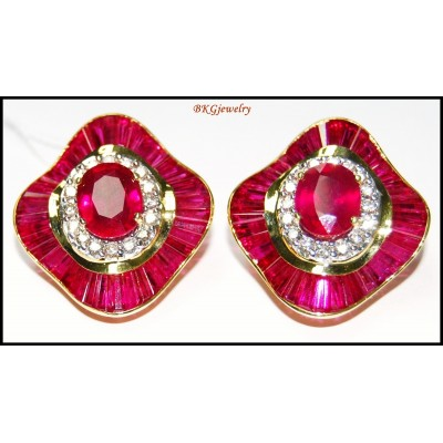 Eternity Gemstone 18K Yellow Gold Diamond Ruby Earrings [E0042]