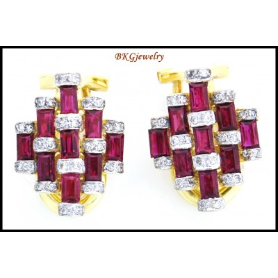Diamond 18K Yellow Gold Gemstone Jewelry Ruby Earrings [E0049]