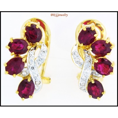 Genuine 18K Yellow Gold Diamond Gemstone Ruby Earrings [E0053]
