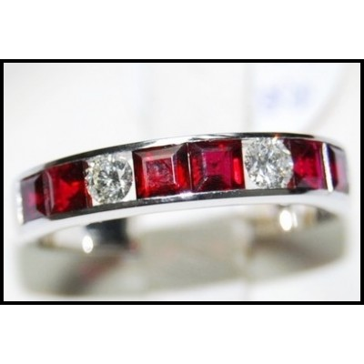 18K White Gold Unique Ruby and Diamond Band Ring [RQ0003]