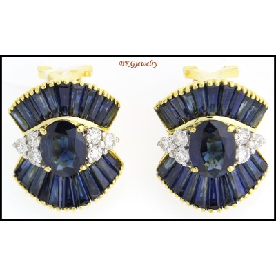Eternity Diamond Blue Sapphire Earrings 18K Yellow Gold [E0040]
