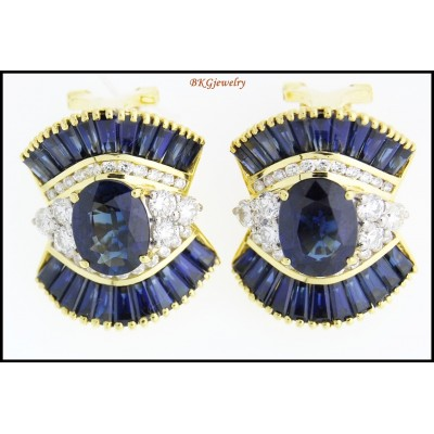 18K Yellow Gold Diamond Natural Blue Sapphire Earrings [E0041]