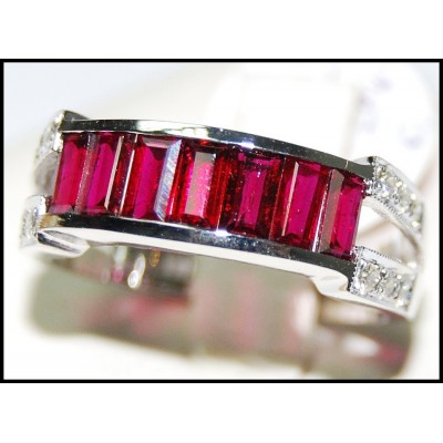 For Men Red Ruby and Diamond Ring Unique 18K White Gold [RQ0021]