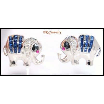 Diamond 18K White Gold Blue Sapphire Elephant Earrings [E0045]