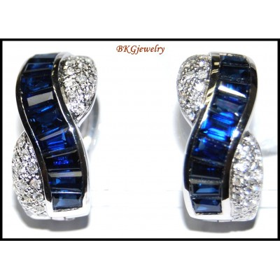 Gemstone Blue Sapphire 18K White Gold Diamond Earrings [E0082]