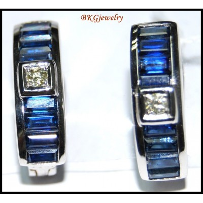 18K White Gold Diamond Blue Sapphire Eternity Earrings [E0086]