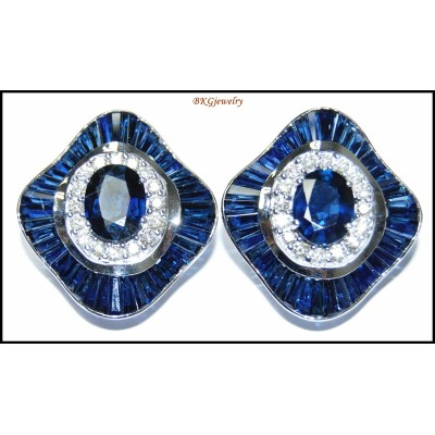 18K White Gold Unique Diamond Blue Sapphire Earrings [E0042]