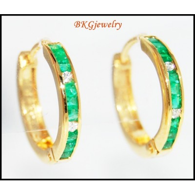18K Yellow Gold Gemstone Emerald Diamond Hoop Earrings [EL0013]