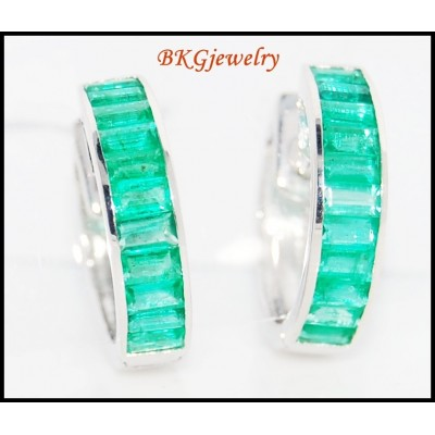 18K White Gold Unique Emerald Gemstone Huggie Earrings [EL0007]