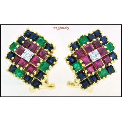 Genuine Diamond 18K Yellow Gold Multi Gemstone Earrings [E0059]