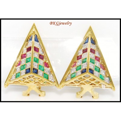 18K Yellow Gold Jewelry Diamond Multi Gemstone Earrings [E0066]