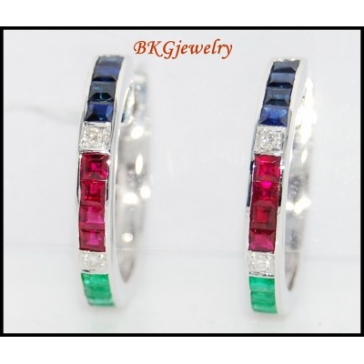 18K White Gold Diamond Multi Gemstone Huggie Earrings [EL0005]