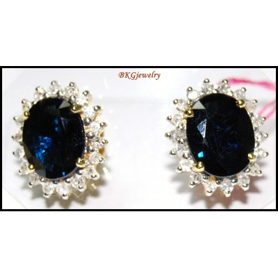 14K Yellow Gold Natural Blue Sapphire Diamond Earrings [E_112]