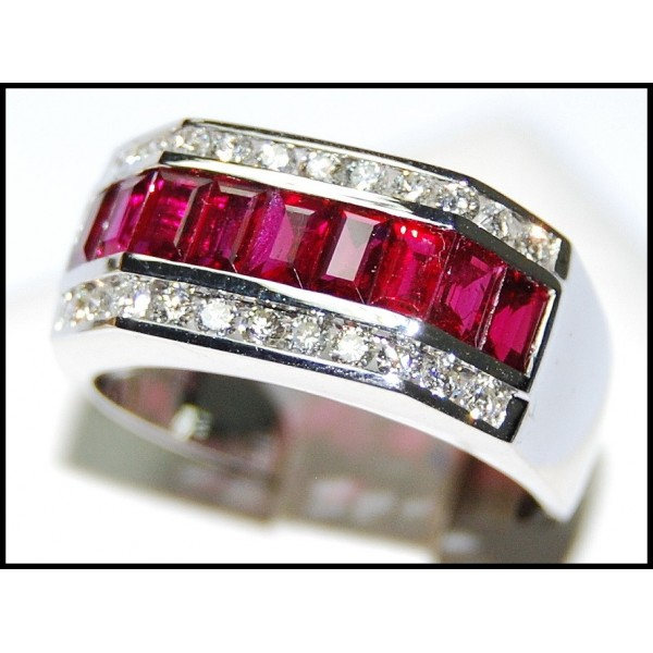Eternity For Men Ruby Ring Diamond 18K White Gold RQ0049
