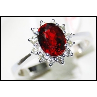 Solitaire Ruby Ring and Diamond Unique 18K White Gold [RS0001]