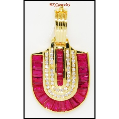 Gemstone Jewelry Diamond 18K Yellow Gold Pendant Ruby [P0087]