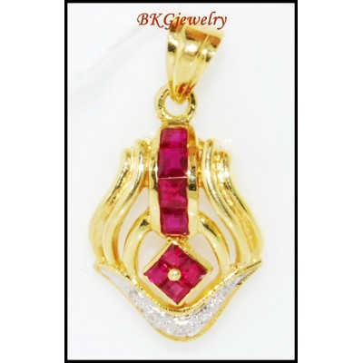 Eternity Gemstone Ruby Diamond Pendant 18K Yellow Gold [P0102]