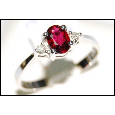 Oval Ruby and Diamond Solitaire Ring Unique 18K White Gold [RS0003]