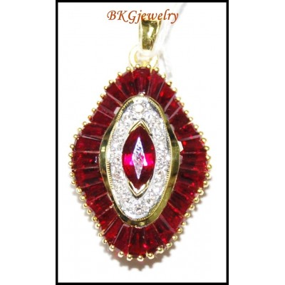 Diamond Jewelry Gemstone Ruby Pendant 18K Yellow Gold [P0141]