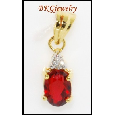 Ruby Solitaire Eternity 18K Yellow Gold Diamond Pendant [P0030]