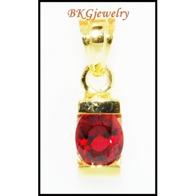 Jewelry Gemstone 18K Yellow Gold Ruby Solitaire Pendant [P0043]