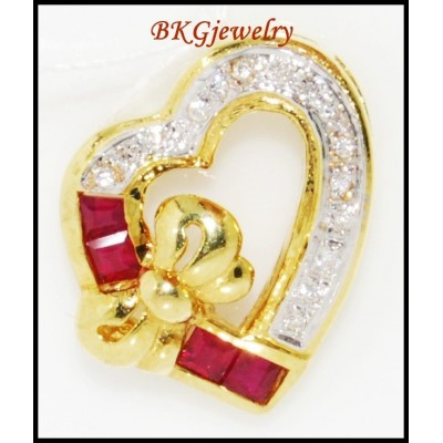 Natural 18K Yellow Gold Diamond Heart Ruby Pendant [P0106]