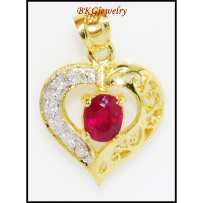 Heart Unique 18K Yellow Gold Ruby Diamond Pendant [P0096]