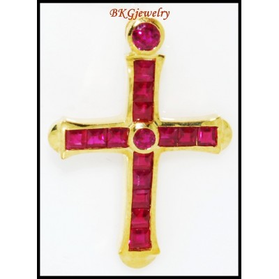 Eternity Cross Gemstone Ruby 18K Yellow Gold Pendant [P0116]