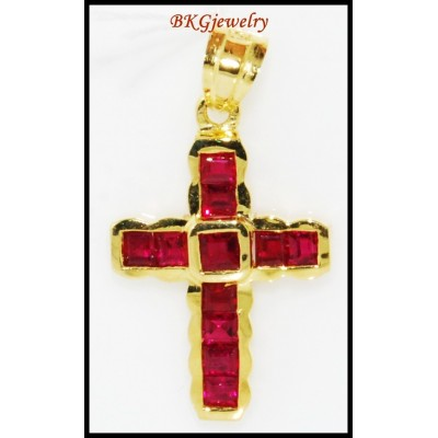 Ruby Gemstone 18K Yellow Gold Jewelry Cross Pendant [P0118]
