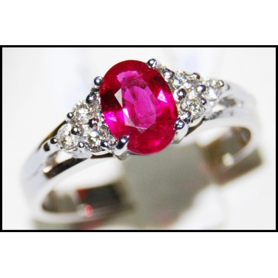 Pink Ruby and Diamond Ring Unique 18K White Gold [RS0013_1]
