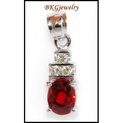Solitaire Pendant Diamond Ruby Unique 18K White Gold [P0040]