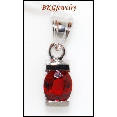 Unique Ruby Gemstone Solitaire Pendant 18K White Gold [P0044]