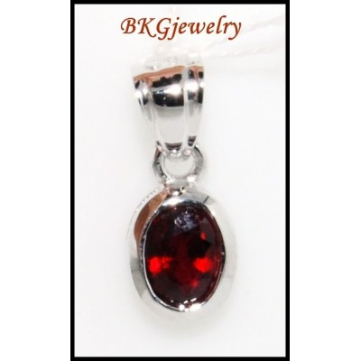18K White Gold Solitaire Pendant Ruby Gemstone Jewelry [P0049]