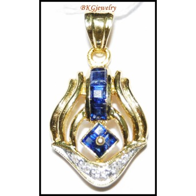 18K Yellow Gold Blue Sapphire Gemstone Diamond Pendant [P0134]