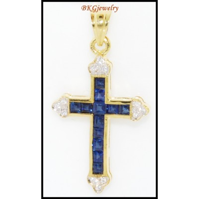 Blue Sapphire Cross Pendant Jewelry 18K Yellow Gold Diamond [P0111]