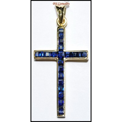 18K Yellow Gold Blue Sapphire Cross Pendant Gemstone Eternity [P0121]