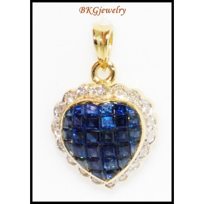 18K Yellow Gold Genuine Diamond Heart Blue Sapphire Pendant [P0070]