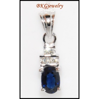 18K White Gold Solitaire Pendant Diamond Blue Sapphire [P0042]
