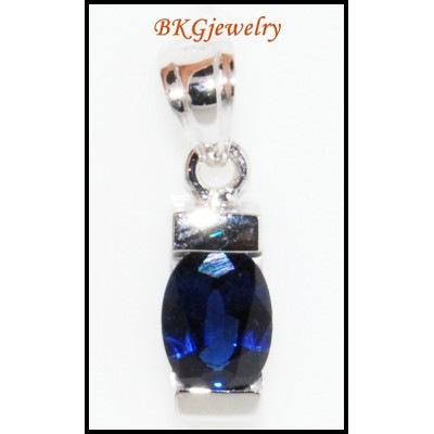 Blue Sapphire Gemstone Solitaire Pendant 18K White Gold [P0046]